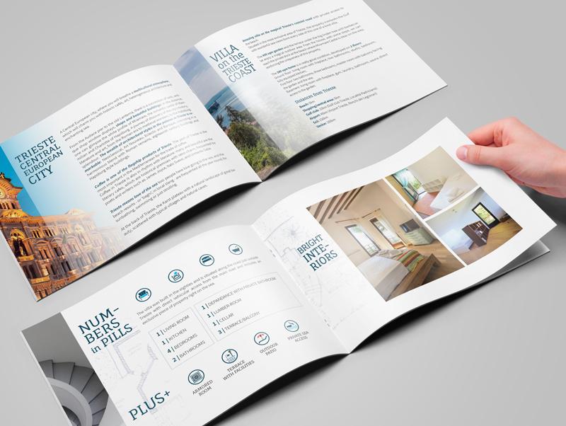 Layout brochure ville agenzia immobiliare Trieste Villas