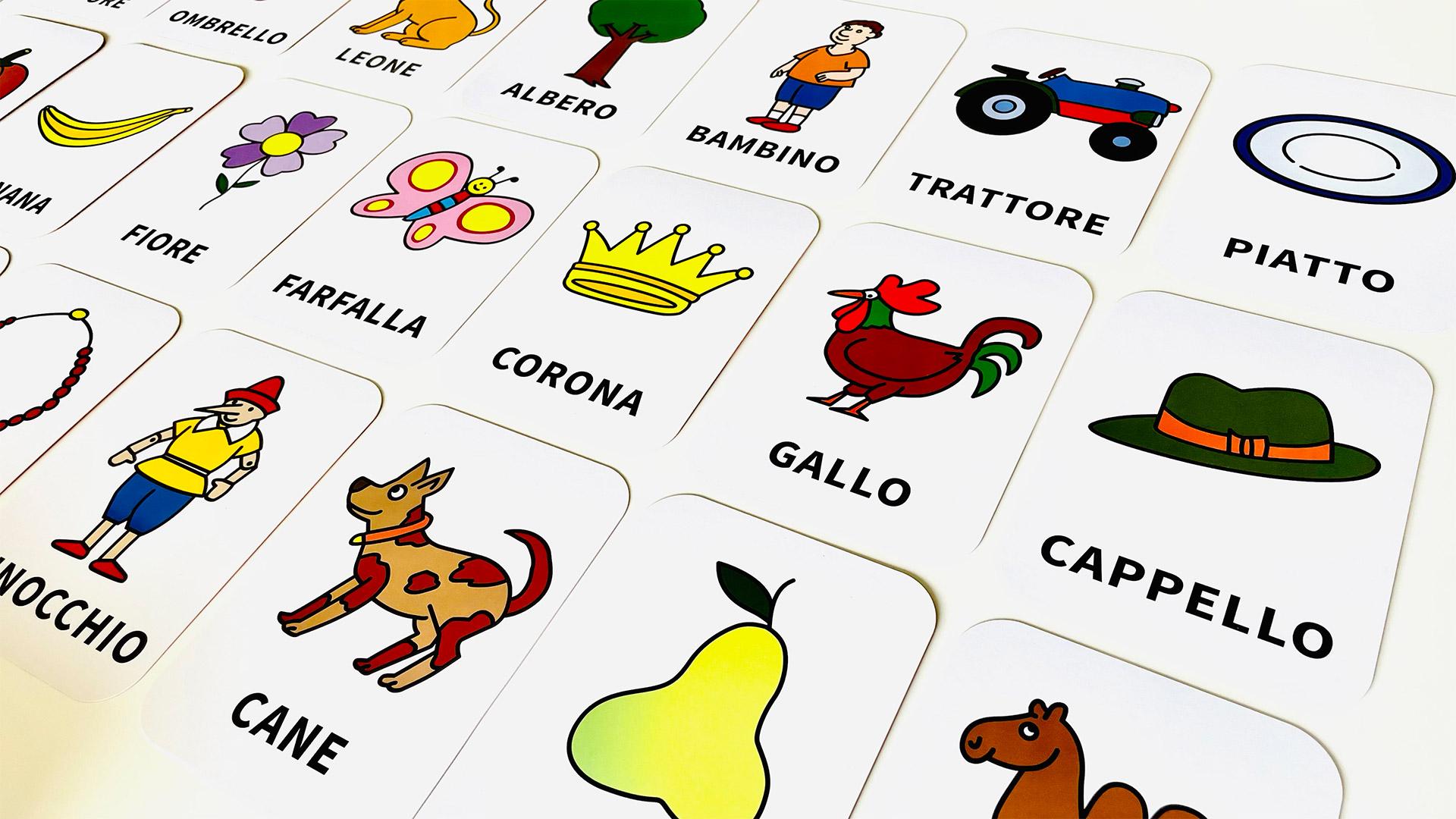 Esempio di carte da gioco per bambini con illustrazioni di Altan