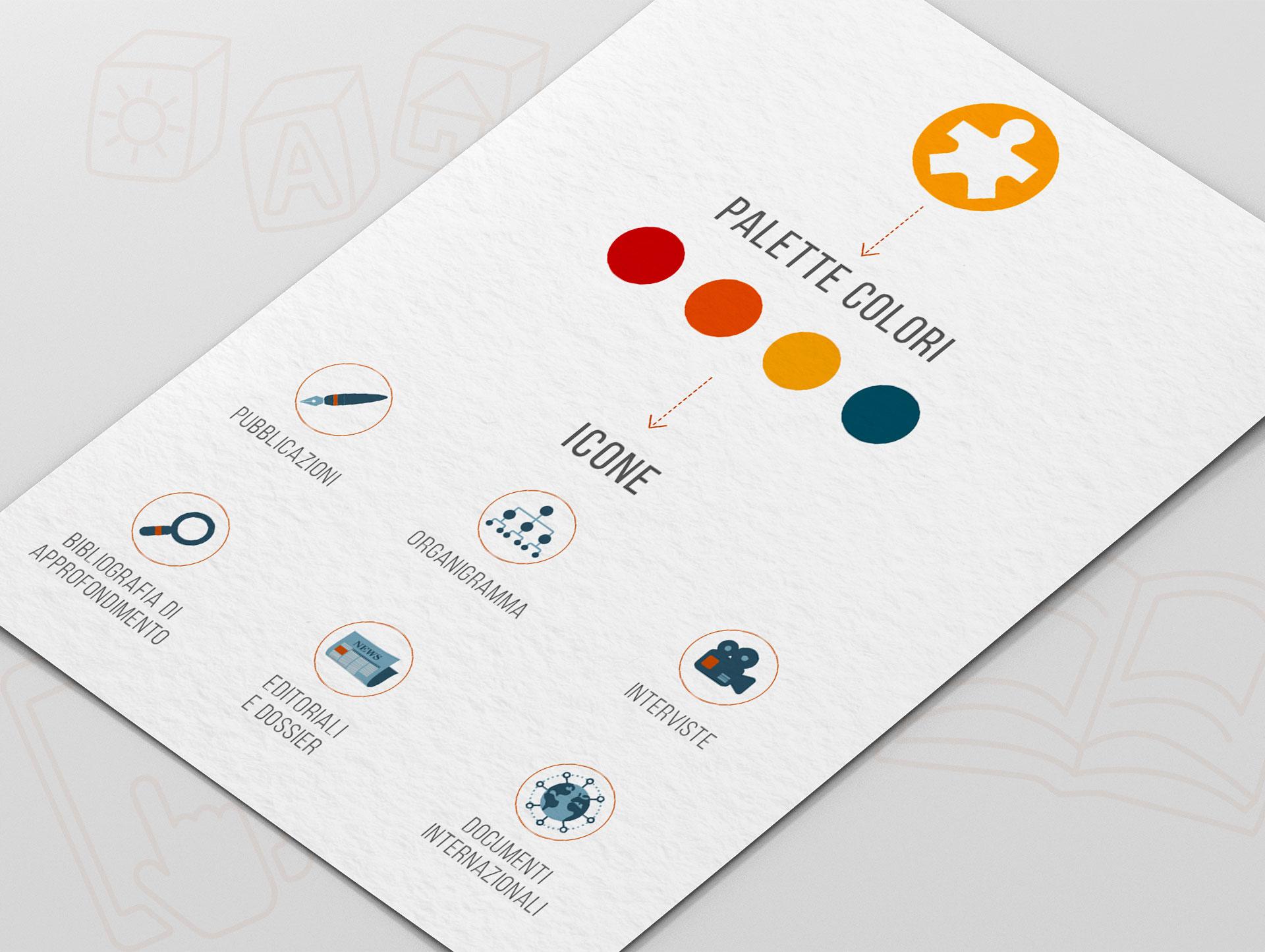 foglio con icone e palette colori del sito CSB