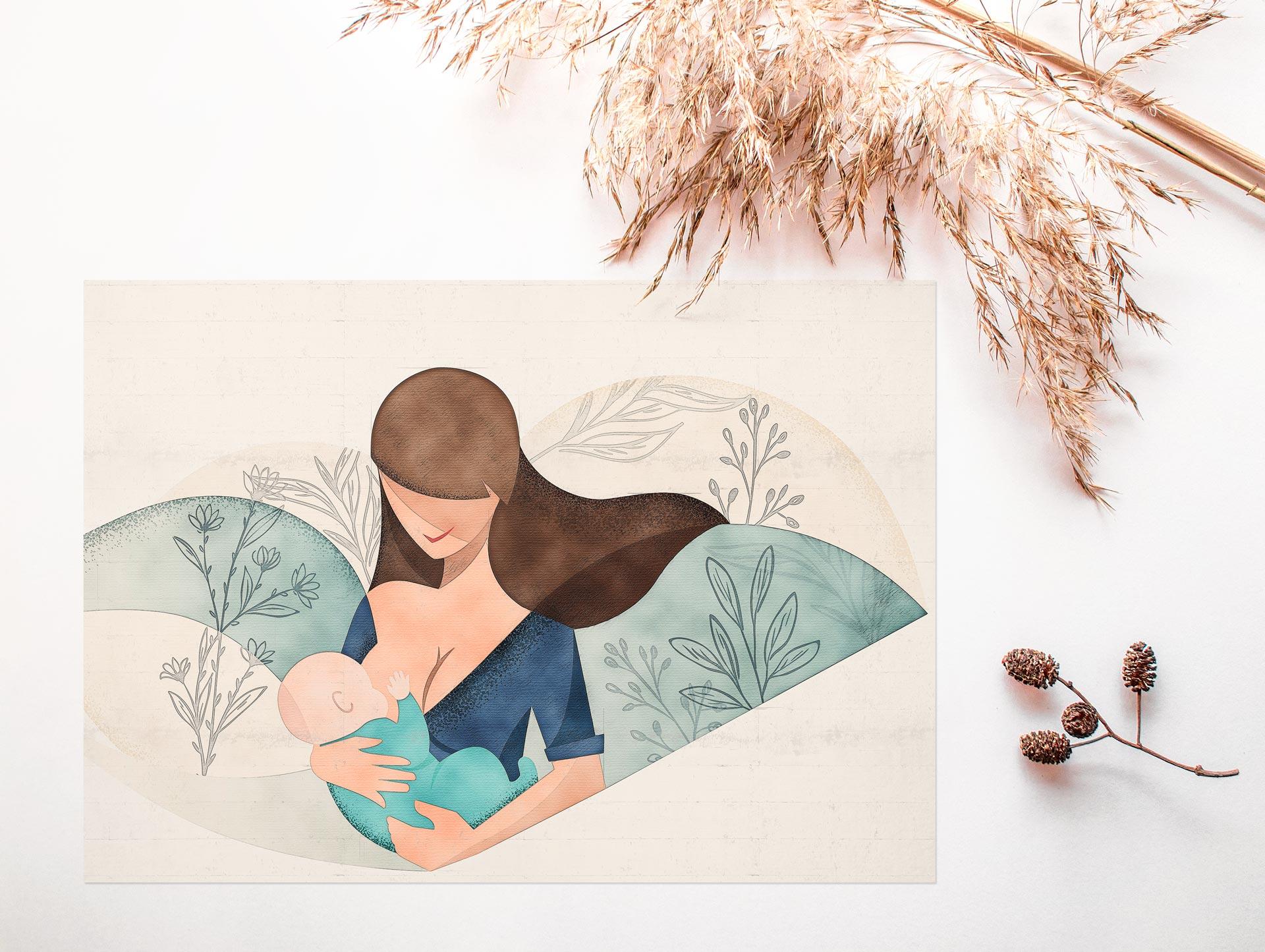 Illustrazione mamma che allatta