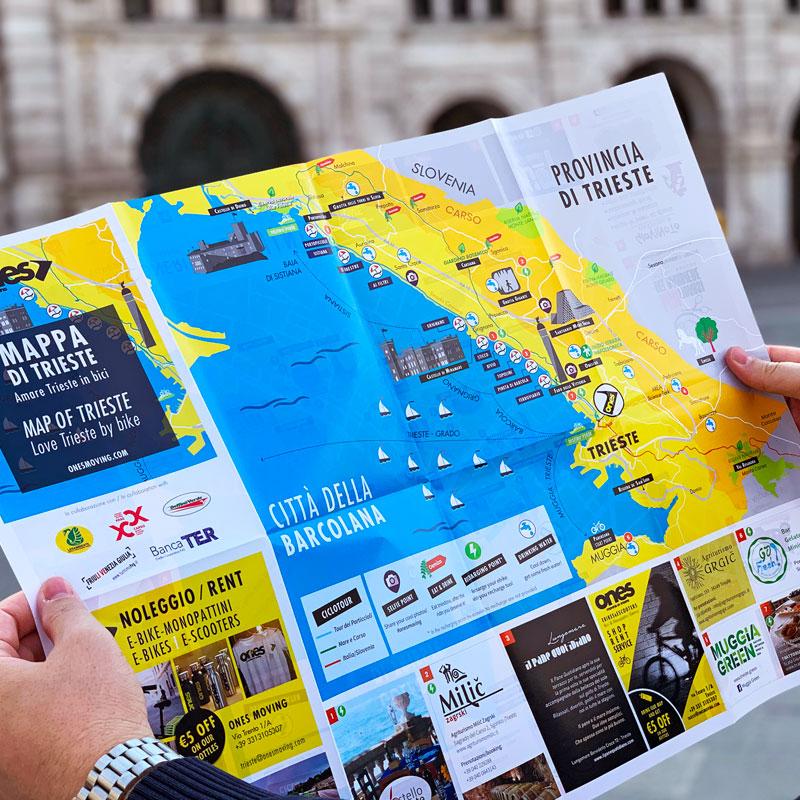 Mappa di città illustrata personalizzata. Borsa di tela con illustrazione di Trieste