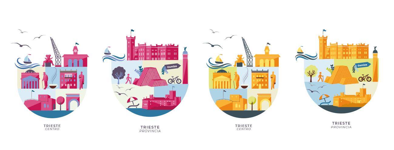 Illustrazioni vettoriali della città di Trieste