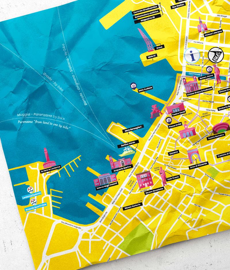 Particolare della mappa cartacea illustrata di Trieste