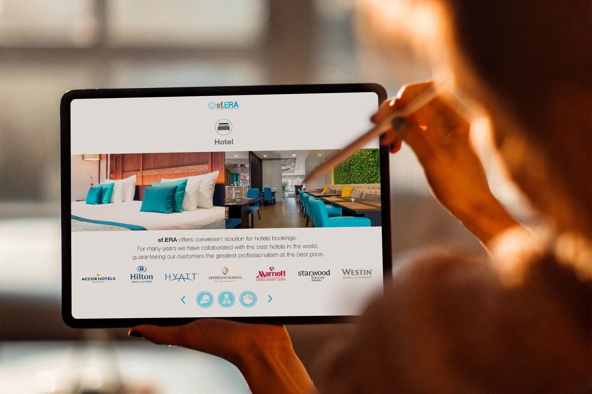 Schermata sugli alberghi della presentazione ipad