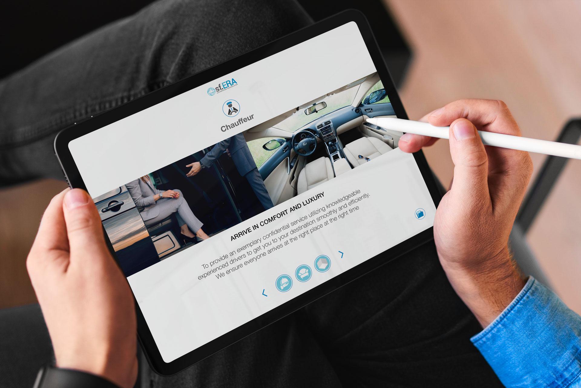 Schermata sui trasporti privati della presentazione ipad